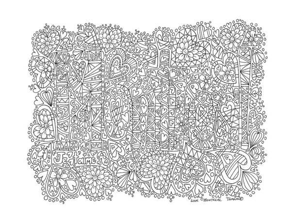 Quebec City Drawing - Love Montreal by Tamara Kulish