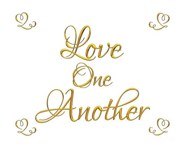 Digital Art - Love One Another Golden 3d Look Script by Rose Santuci-Sofranko