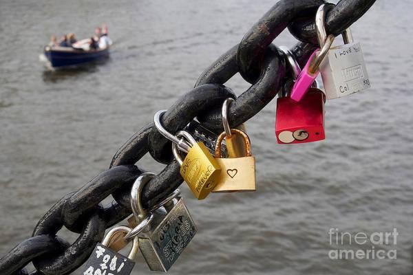 Padlock Photograph - Love Padlocks  On An Amsterdam Bridge. Netherlands. Europe by Bernard Jaubert