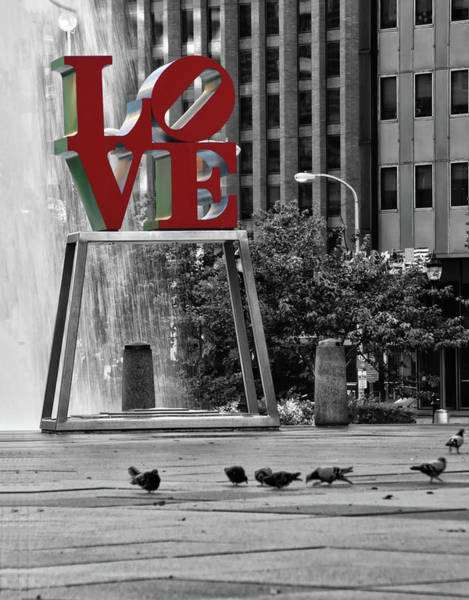 Wall Art - Photograph - Love Park - Center City Philadelphia - Selective Color by Bill Cannon