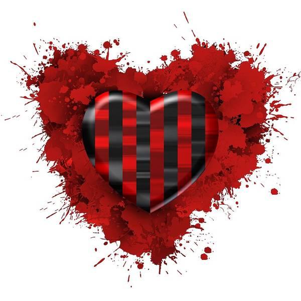 Digital Art - Love Red And Black Stripes by Alberto RuiZ