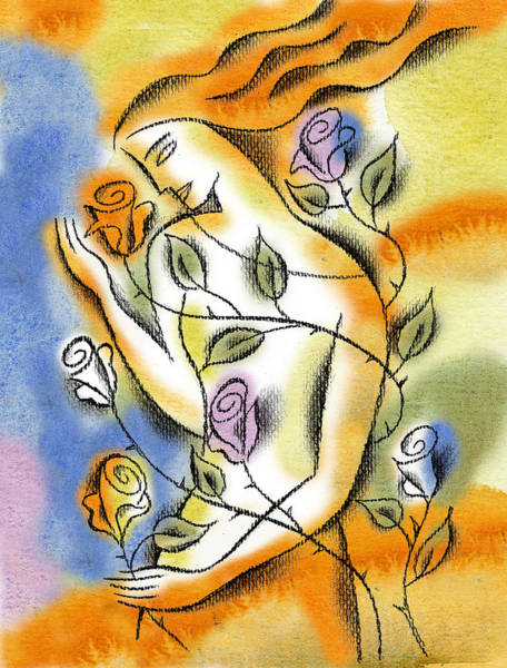 Togetherness Painting - Love, Roses And Thorns by Leon Zernitsky