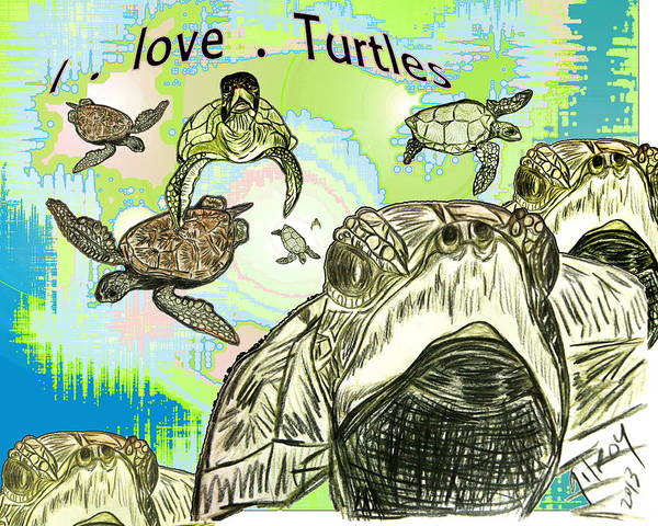 Wallpaper Mixed Media - 'love Sea Turtles by W Gilroy