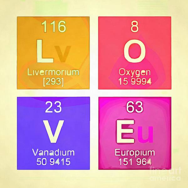 Periodic Table Photograph - Love Square Periodic Table Elements by Edward Fielding