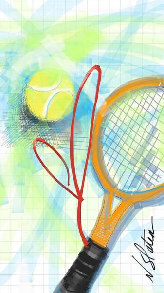 Courting Digital Art - Heart Tennis by Nicole Slater