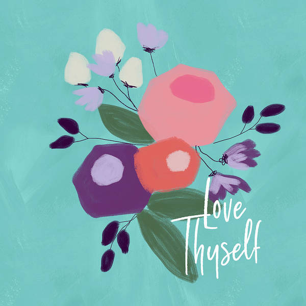 Floral Mixed Media - Love Thyself- Art By Linda Woods by Linda Woods