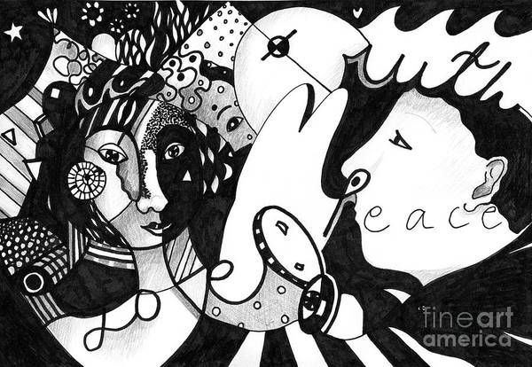 Wall Art - Drawing - Love Truth Peace by Helena Tiainen