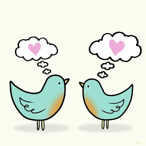 Lovebirds Painting - Love Was In The Air by Little Bunny Sunshine