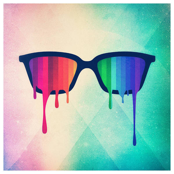 Wall Art - Digital Art - Love Wins Rainbow - Spectrum Pride Hipster Nerd Glasses by Philipp Rietz