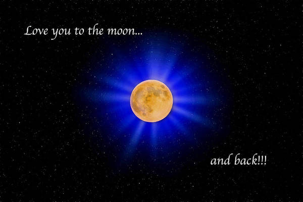 Photograph - Love You To The Moon - Blue by Lynn Bauer