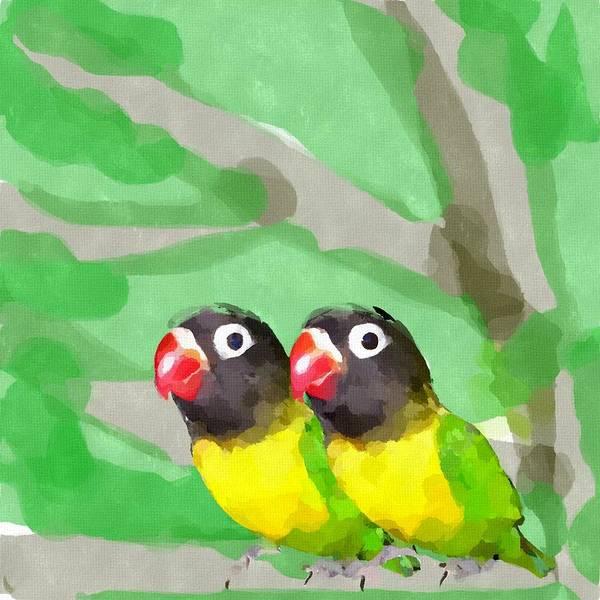 Lovebird Painting - Lovebirds by Chris Butler
