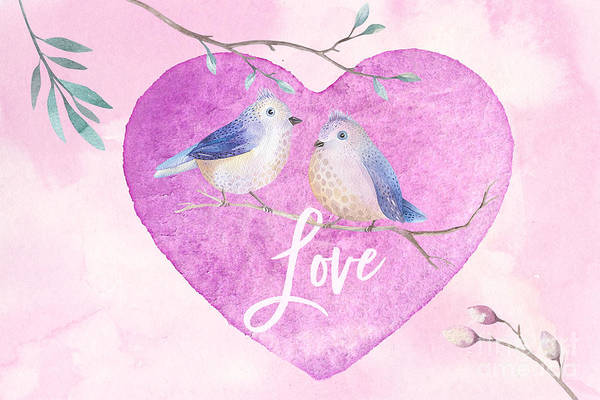 Digital Art - Lovebirds For Valentine's Day, Or Any Day by Anita Pollak