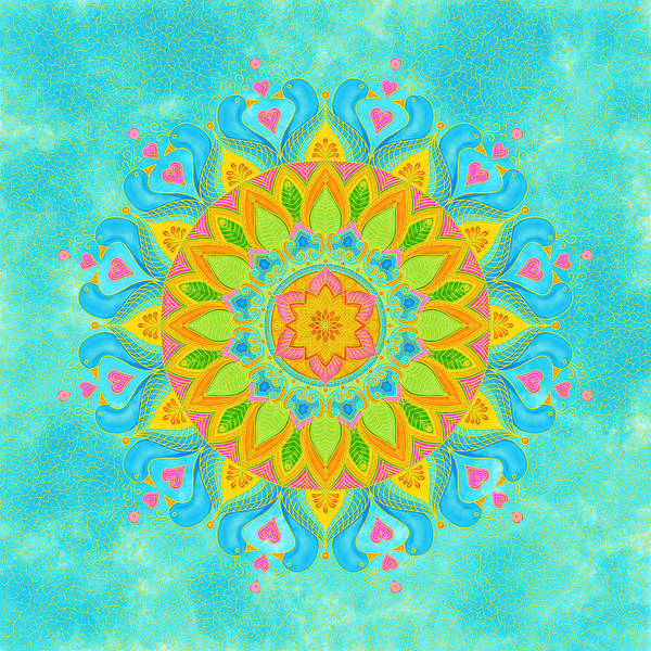 Wall Art - Digital Art - Lovebirds Mandala - Zendala by SharaLee Art