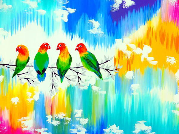 Lovebirds Painting - Lovebirds On A Branch by Cathy Jacobs