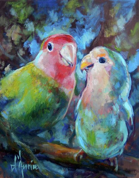 Lovebird Painting - Lovebirds by Tom Dauria