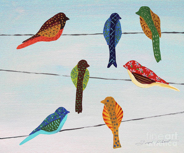 Wall Art - Painting - Lovely Colorful Birds On Wires 1 by Jean Plout