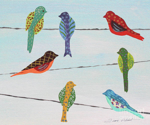 Wall Art - Painting - Lovely Colorful Birds On Wires 2 by Jean Plout