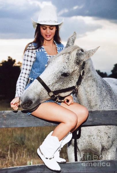 Photograph - Lovely Girl And A Playful Horse by Steve Krull