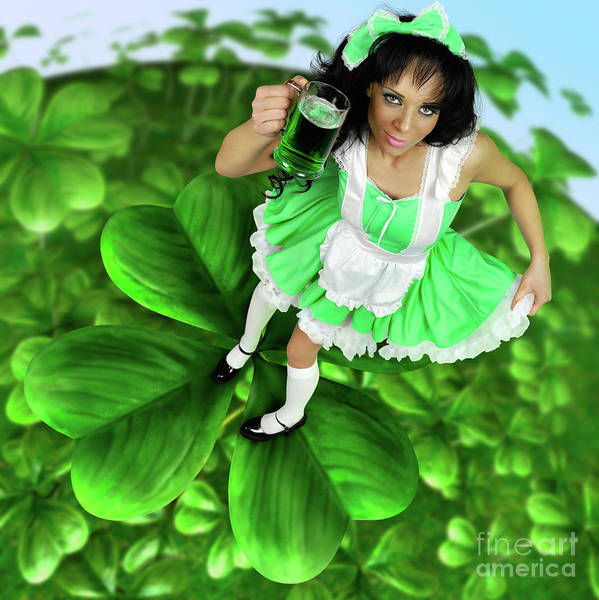 Four Leaf Clover Photograph - Lovely Irish Girl With A Glass Of Green Beer by Oleksiy Maksymenko