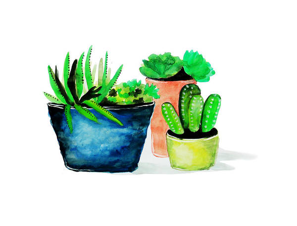 Painting - Lovely Potted Cactus by Rasirote Buakeeree
