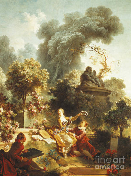 Courtship Wall Art - Painting - Lover Crowned With Flowers by Jean-Honore Fragonard