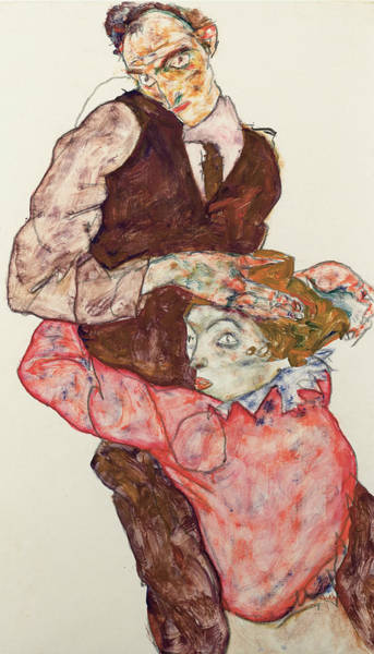 20th Century Man Drawing - Lovers by Egon Schiele