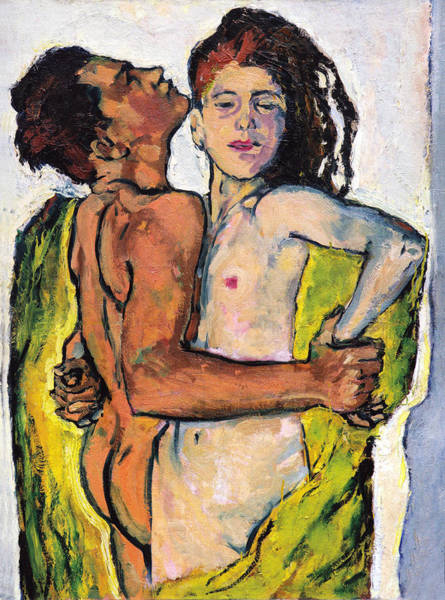 Having Sex Painting - Lovers by Koloman Moser