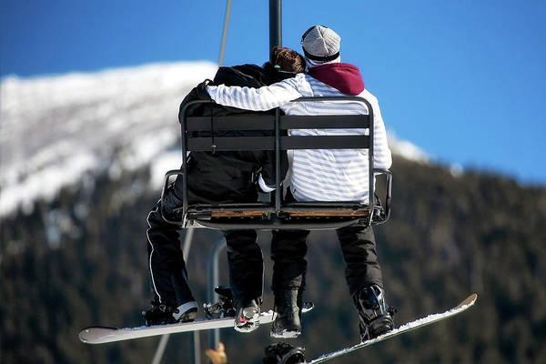 Flagstaff Photograph - Lovers On Ski Lift by Susan Schmitz