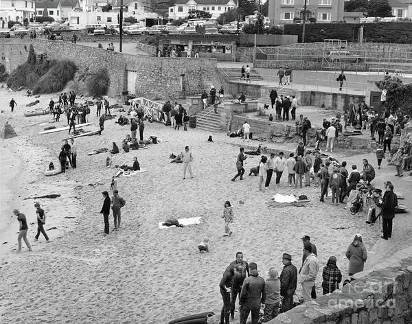 Photograph - Lovers Point Beach With Lots Of Scuba Divers Circa 1968 by California Views Archives Mr Pat Hathaway Archives