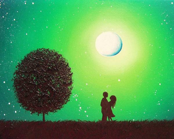 Full Moon Painting - Love's Embrace by Rachel Bingaman