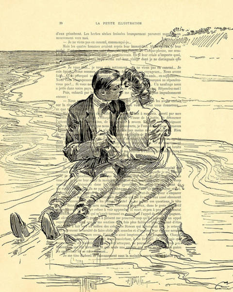 Girlfriend Digital Art - Loving Couple By The Sea by Madame Memento