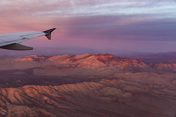 Photograph - Loving The Window Seat - Pink Dawn Over The High Mojave Desert by Georgia Mizuleva