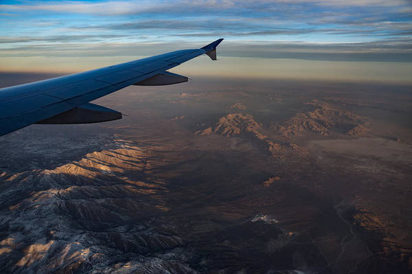 Photograph - Loving The Window Seat - Sunrise Flight Over The High Mojave Desert by Georgia Mizuleva