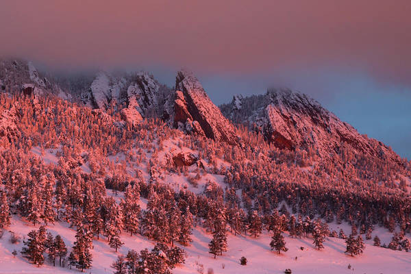 First Snowfall Wall Art - Photograph - Low Clouds Hang Over The Flatirons At Sunrise With Fresh Snow by Bridget Calip