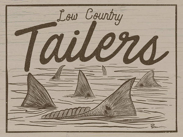 Redfish Digital Art - Low Country Tailers by Kevin Putman