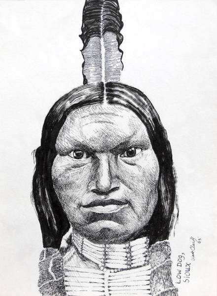 Drawing - Low Dog Sioux by Wade Clark