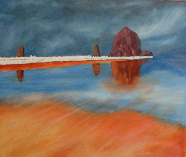 Cannon Beach Painting - Low Tide At Cannon Beach - Oregon by Vincent Consiglio