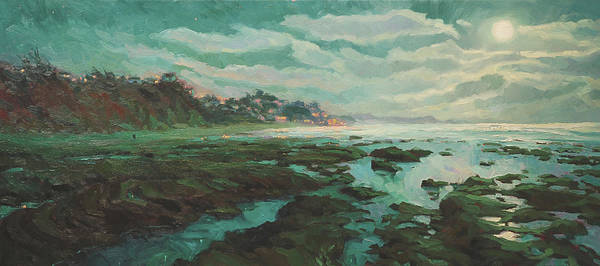 Coast Painting - Low Tide At Moonlight by Steve Henderson