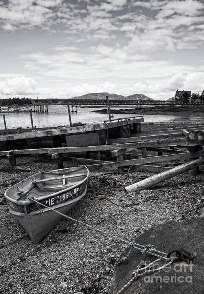 Photograph - Low Tide, Bass Harbor, Maine  #130161-bw by John Bald