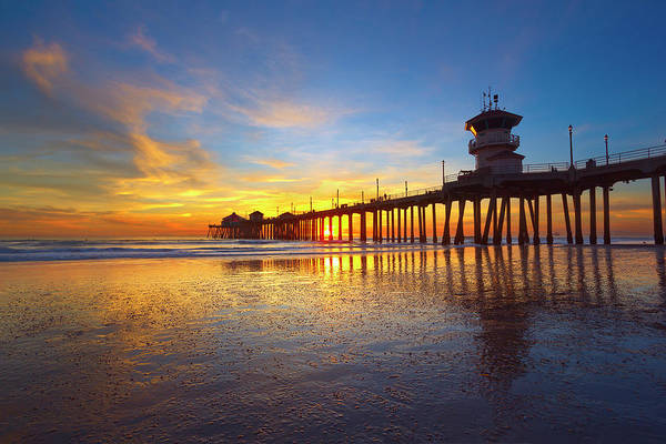 Huntington Beach Pier Photograph - Low Tide by Brian Knott Photography