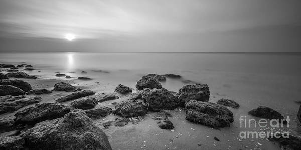 High Tide Photograph - Low Tide Panorama Bw by Michael Ver Sprill
