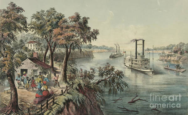 Settlers Painting - Low Water In The Mississippi, 1868  by Currier and Ives