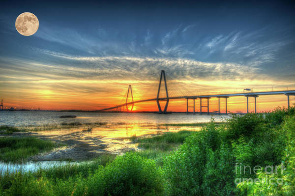 Photograph - Lowcountry Moon Over Ravenel Bridge by Dale Powell