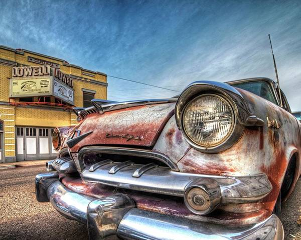 Photograph - Lowell Arizona Old Rusted Car Lowell Movie Theater by Toby McGuire