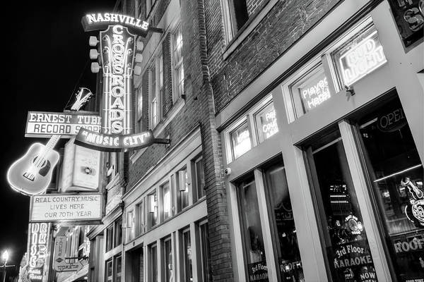 Photograph - Lower Broadway Nashville Neon Lights In Black And White by Gregory Ballos