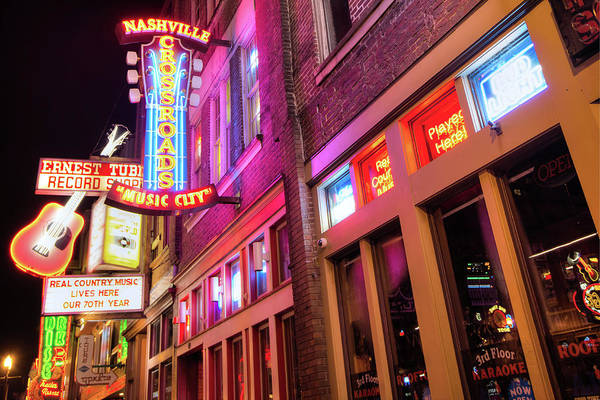Photograph - Lower Broadway Nashville Neon Lights In Color by Gregory Ballos
