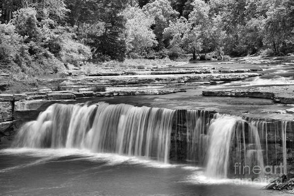 Photograph - Lower Cataract Falls Cascades Black And White by Adam Jewell