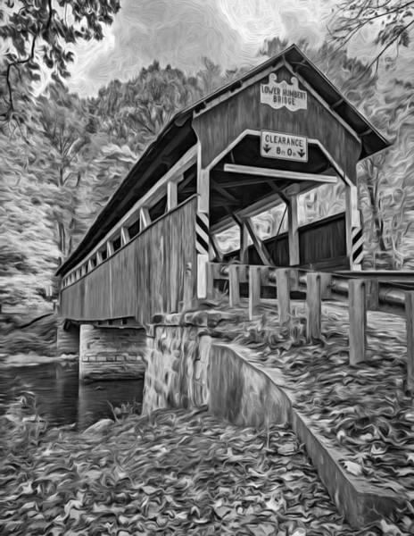 Lower Humbert Covered Bridge 2 - Paint Bw Art Print