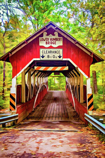 Laurel Hill Creek Photograph - Lower Humbert Covered Bridge 5 - Paint by Steve Harrington