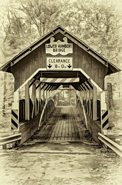 Laurel Hill Creek Photograph - Lower Humbert Covered Bridge 5 - Sepia by Steve Harrington
